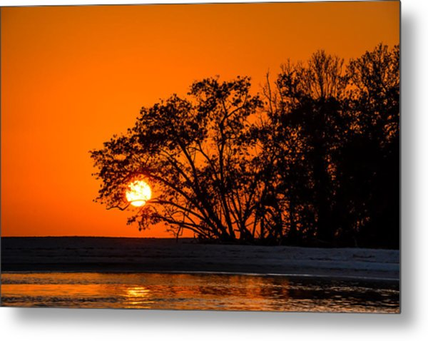 Sunset Sillouette Metal Print