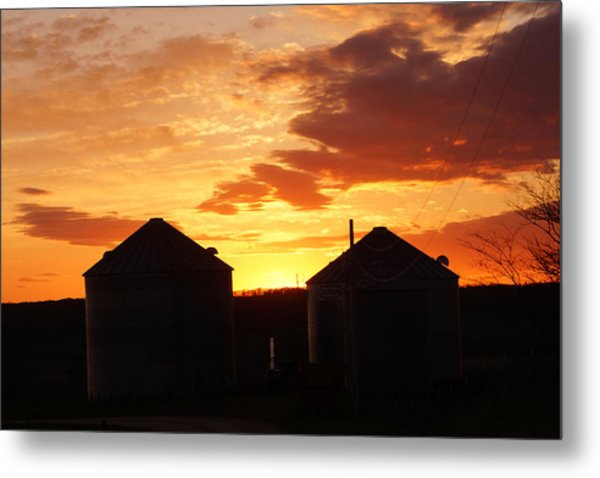 Sunset Silos Metal Print
