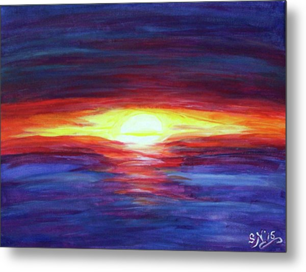 Metal Print featuring the painting Sunset by Sonya Nancy Capling-Bacle