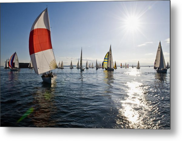 Sunset Spinaker Metal Print by Tom Dowd