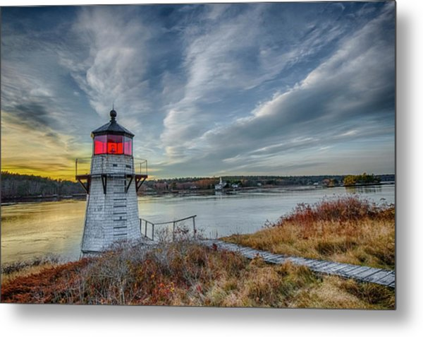 Sunset, Squirrel Point Lighthouse Metal Print