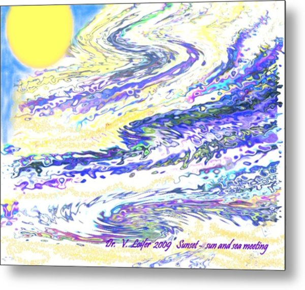 Sunset-sun And Sea Meeting Metal Print by Dr Loifer Vladimir