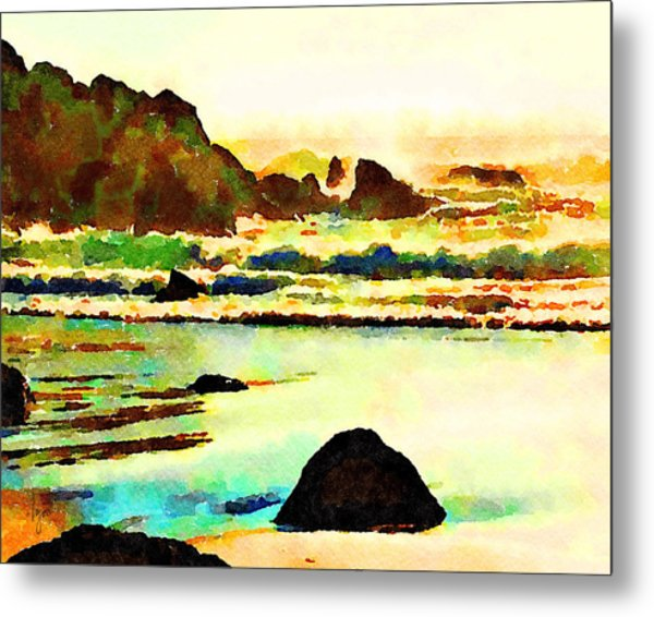Metal Print featuring the painting Sunset Surf by Angela Treat Lyon