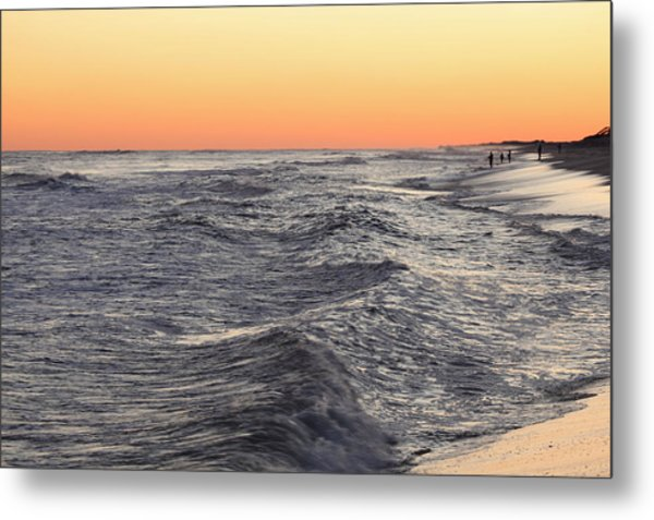 Sunset Surf Fishing Metal Print