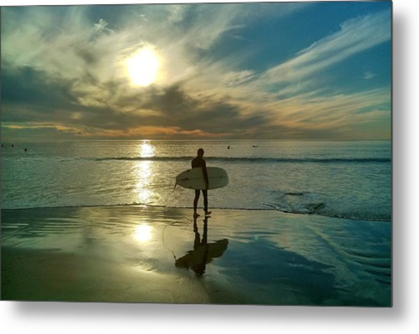 Sunset Surfer Metal Print