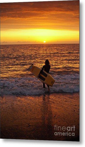Sunset Surfer On Aberystwyth Beach Wales Uk Metal Print