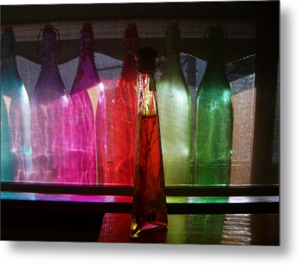 Sunset Through Glass Bottles Metal Print by Adrianne Wood
