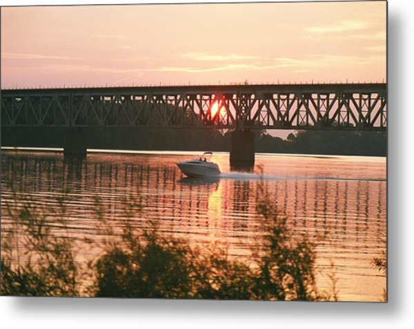Sunset Under The Cbq Railroad Bridge Metal Print by C E McConnell