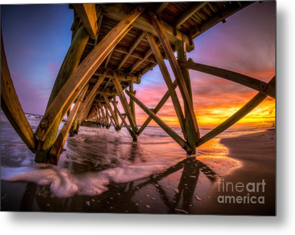 Sunset Under The Pier Metal Print