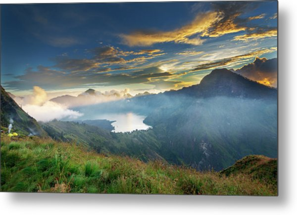 Metal Print featuring the photograph Sunset View From Mt Rinjani Crater by Pradeep Raja Prints