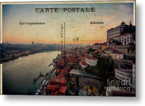 sunset view of the Douro river and old part of  Porto, Portugal Metal Print