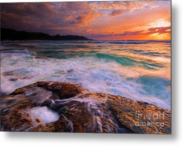 Sunset Wave Curl Metal Print
