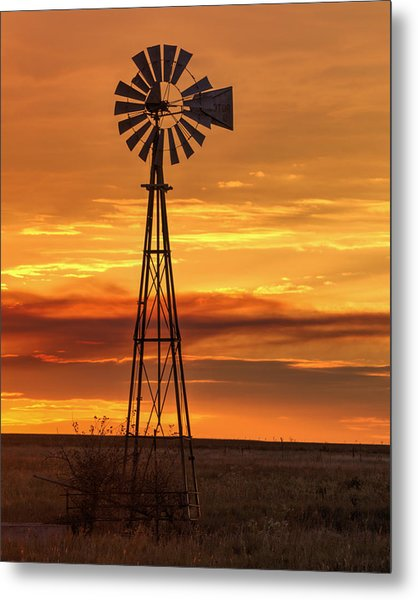 Sunset Windmill 01 Metal Print