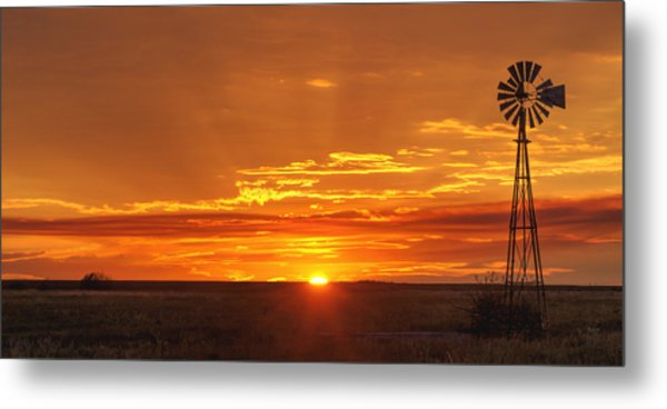 Sunset Windmill 02 Metal Print