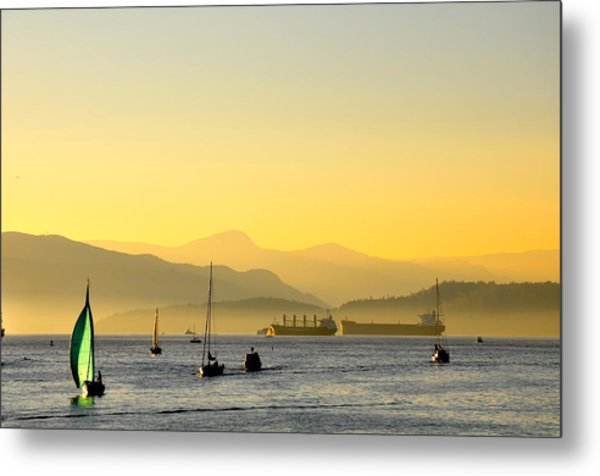 Sunset With Green Sailboat Metal Print
