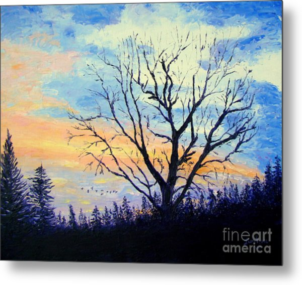 Sunset With The Geese Metal Print