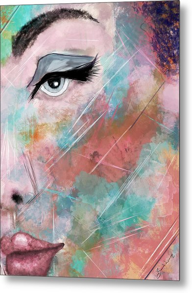 Sunset - Woman Abstract Art Metal Print