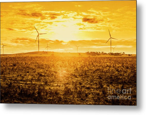 Sunsets And Golden Turbines Metal Print