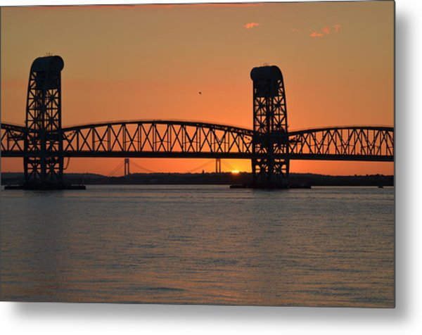 Sunset's Last Light Bridges Over Jamaica Bay Metal Print