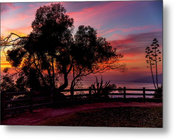 Sunset Silhouettes From Palisades Park Metal Print