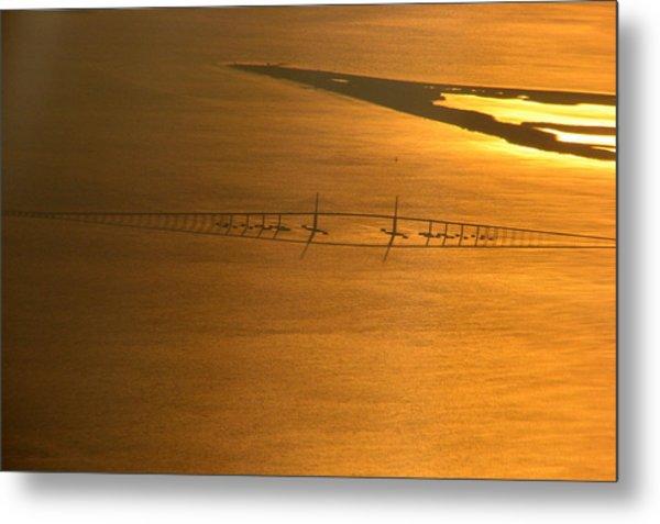 Sunshine Skyway Bridge At Sunset Metal Print