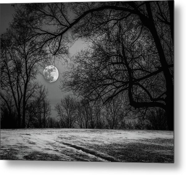 Super Blue Moon Rising Bw Metal Print