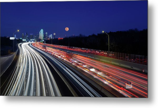 Super Moon And Dallas Texas Skyline Metal Print