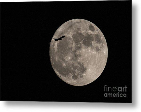Super Moon And Plane Metal Print by Jennifer Ludlum