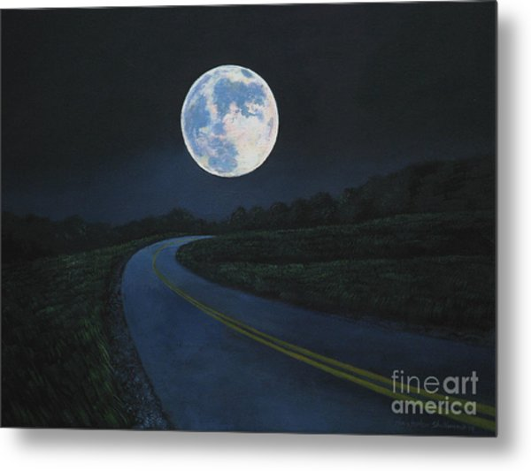 Super Moon At The End Of The Road Metal Print