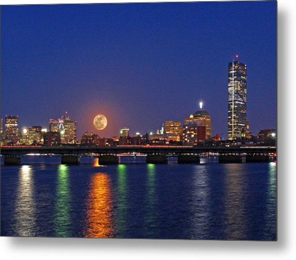 Super Moon Over Boston Metal Print by Juergen Roth