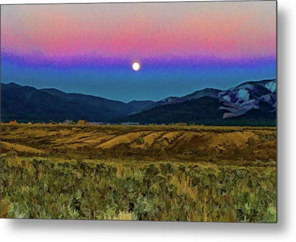Super Moon Over Taos Metal Print