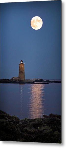 Super Moon Over Whaleback Lighthouse Metal Print