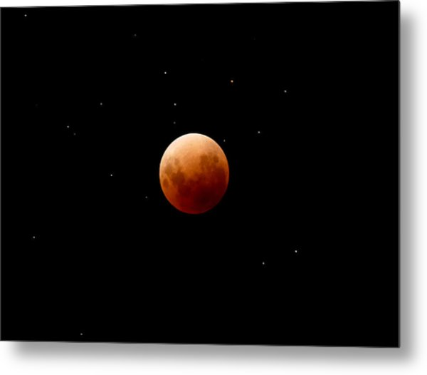Super Red Blue Moon Eclipse Metal Print