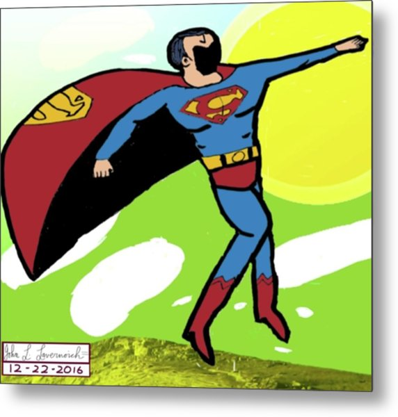 Superman In Flight Metal Print by John Lavernoich