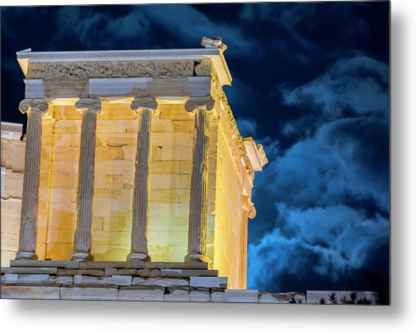 Metal Print featuring the photograph Supermoon In Acropolis by Nikos Stavrakas