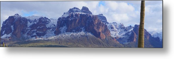 Metal Print featuring the photograph Superstition Mountain Snowfall by Broderick Delaney
