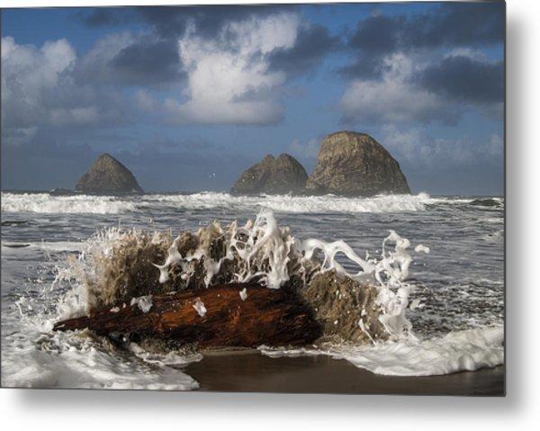 Surf And Three Arch Rocks Metal Print