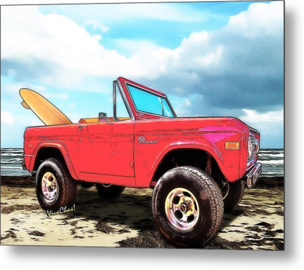 Surf Bronco Beyond The 4 Wheel Drive Only Sign Padre Island Metal Print