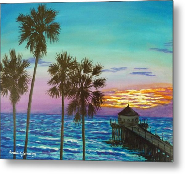 Surf City Sunset Metal Print