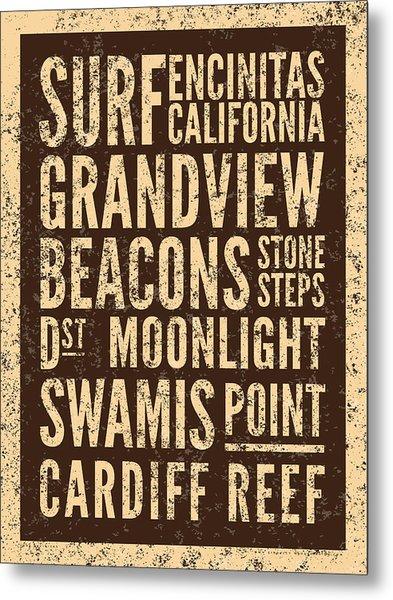 Surf Encinitas California Metal Print