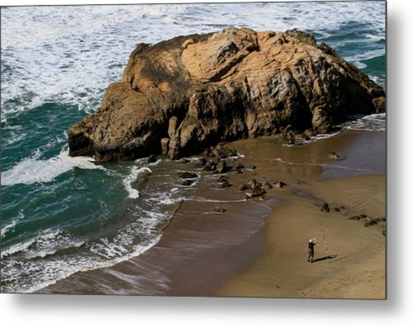 Surf Fishing At Ocean Beach Metal Print