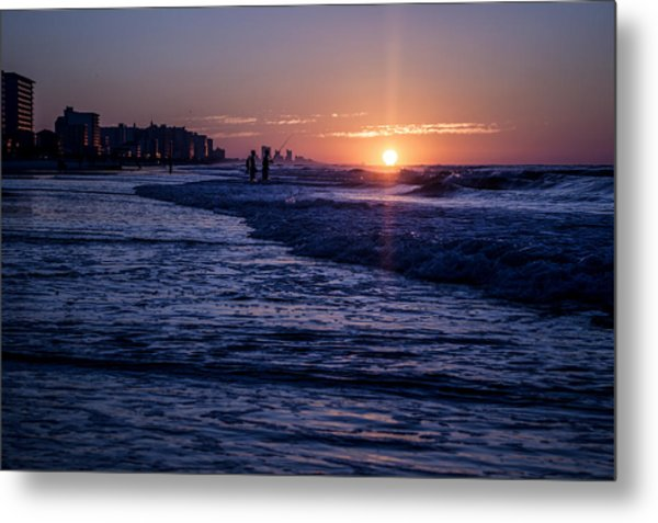Surf Fishing At Sunrise Metal Print