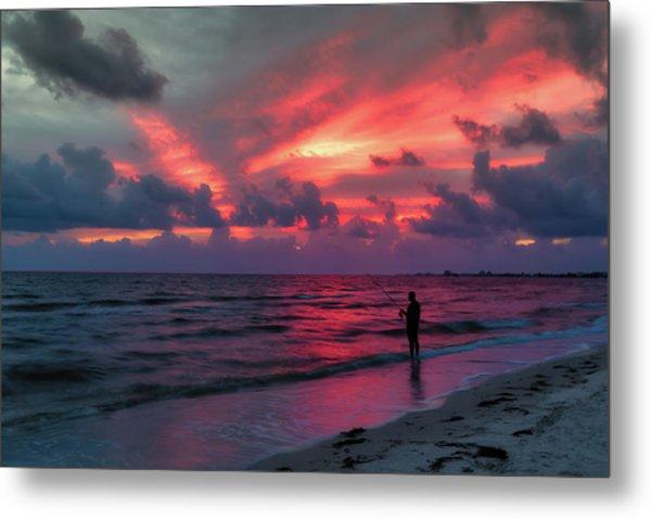 Surf Fishing At Sunset Metal Print