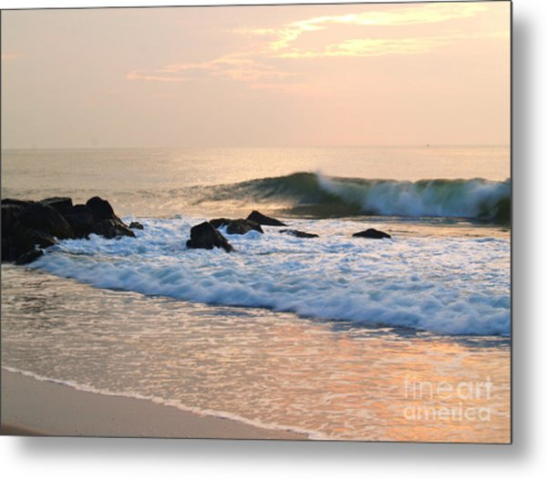Surf In Peachy Ocean Grove Sunrise Metal Print