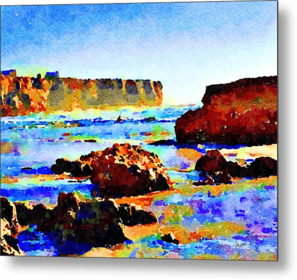Metal Print featuring the painting Surf The Headlands by Angela Treat Lyon