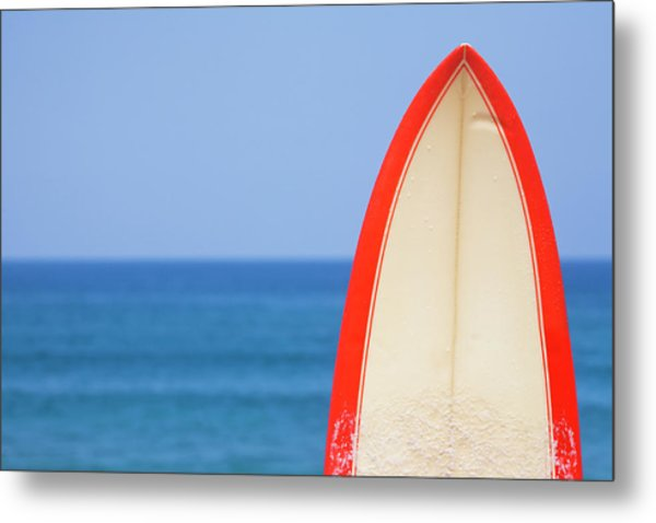 Surfboard By Sea Metal Print