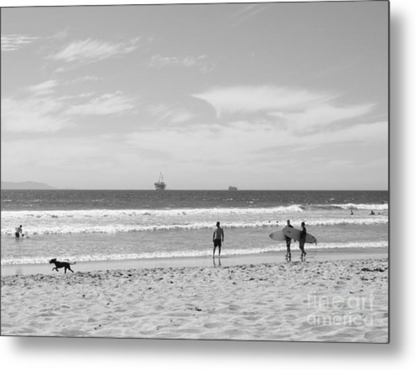 Strollin On Dog Beach Metal Print