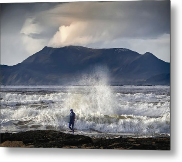 Surfer And A Big Wave Metal Print