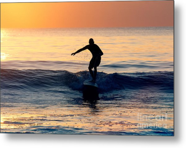 Surfer At Dusk Metal Print