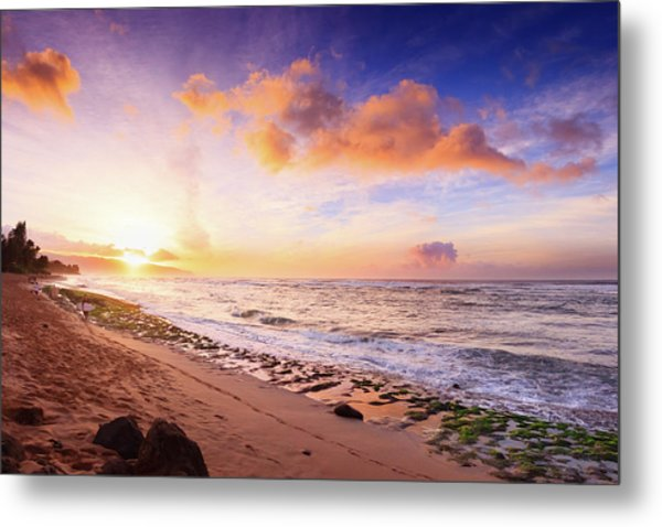 Metal Print featuring the photograph Surfer At Sunset by Geoffrey Lewis